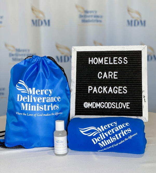 Homeless care package- bag, blanket and hand sanitizer
