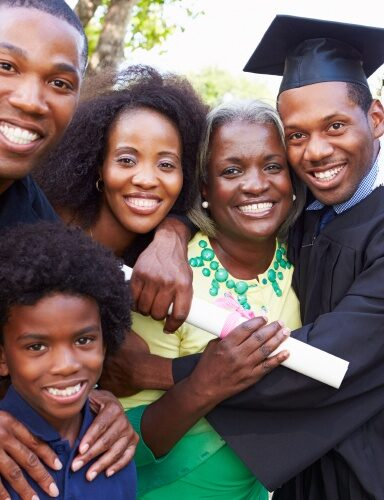 African American Graduate With Family